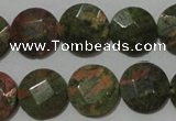 CME53 15.5 inches 15mm faceted coin unakite gemstone beads