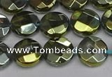 CME62 15.5 inches 10mm faceted coin plated white crystal beads