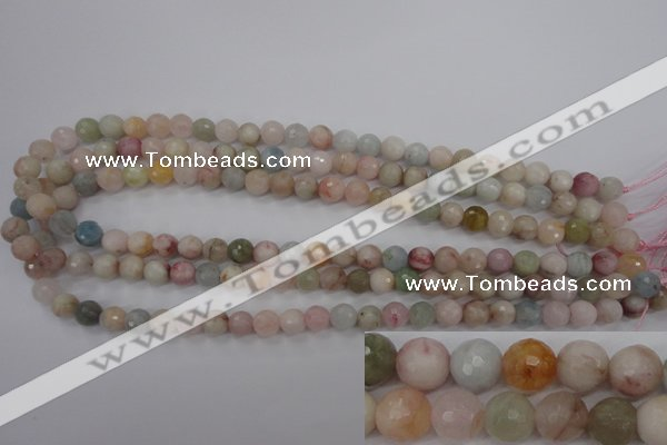 CMG122 15.5 inches 8mm faceted round natural morganite beads