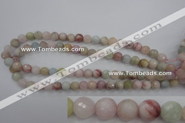 CMG123 15.5 inches 10mm faceted round natural morganite beads