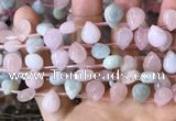 CMG355 Top drilled 9*12mm flat teardrop natural morganite beads