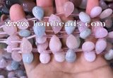 CMG356 Top drilled 10*14mm flat teardrop natural morganite beads