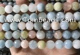 CMG388 15.5 inches 10mm faceted round morganite beads wholesale