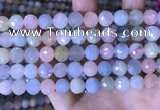 CMG417 15.5 inches 10mm faceted round morganite gemstone beads