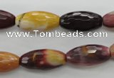CMK131 15.5 inches 10*20mm faceted rice mookaite beads wholesale