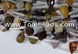 CMK288 Top-drilled 6*9mm faceted teardrop mookaite gemstone beads