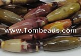CMK48 15.5 inches 10*30mm faceted rice mookaite beads wholesale