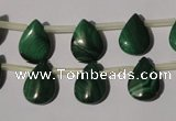 CMN321 Top-drilled 10*14mm flat teardrop natural malachite beads