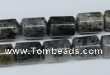 CMO14 15.5 inches 10*14mm column moss quartz beads wholesale