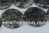 CMO27 15.5 inches 25mm flat round moss quartz beads wholesale