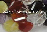 CMQ08 15*20mm twisted faceted teardrop multicolor quartz beads