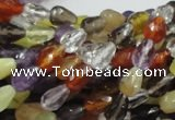 CMQ19 15.5 inches 6*9mm faceted teardrop multicolor quartz beads