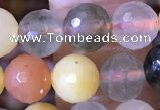 CMQ437 15.5 inches 8mm faceted round mixed rutilated quartz beads
