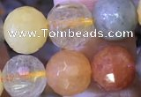 CMQ438 15.5 inches 10mm faceted round mixed rutilated quartz beads