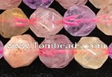 CMQ567 15.5 inches 10mm faceted nuggets mixed quartz beads