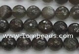 CMS1076 15.5 inches 8mm faceted round grey moonstone beads wholesale