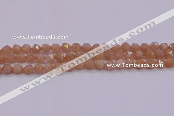 CMS1132 15.5 inches 8mm faceted nuggets peach moonstone beads