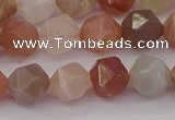 CMS1138 15.5 inches 10mm faceted nuggets rainbow moonstone beads