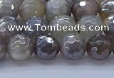 CMS1312 15.5 inches 8mm faceted round AB-color grey moonstone beads