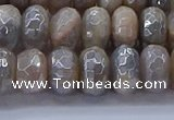 CMS1333 15.5 inches 6*10mm faceted rondelle AB-color grey moonstone beads