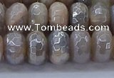 CMS1334 15.5 inches 7*12mm faceted rondelle AB-color grey moonstone beads