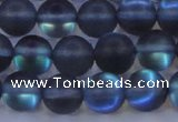 CMS1518 15.5 inches 10mm round matte synthetic moonstone beads