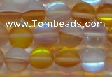 CMS1539 15.5 inches 12mm round matte synthetic moonstone beads