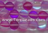 CMS1547 15.5 inches 8mm round matte synthetic moonstone beads