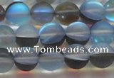 CMS1569 15.5 inches 12mm round matte synthetic moonstone beads