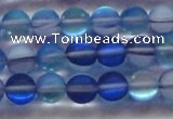 CMS1587 15.5 inches 8mm round matte synthetic moonstone beads