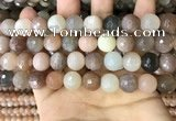 CMS1695 15.5 inches 12mm faceted round rainbow moonstone beads