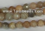 CMS571 15.5 inches 8mm faceted round moonstone beads wholesale
