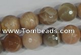 CMS573 15.5 inches 12mm faceted round moonstone beads wholesale
