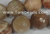 CMS577 15.5 inches 20mm faceted round moonstone beads wholesale