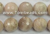 CMS86 15.5 inches 18mm faceted round moonstone gemstone beads