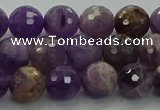 CNA1012 15.5 inches 8mm faceted round dogtooth amethyst beads