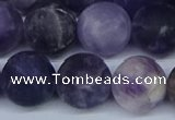 CNA1065 15.5 inches 14mm round matte dogtooth amethyst beads