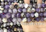 CNA1090 15.5 inches 12mm faceted round dogtooth amethyst beads
