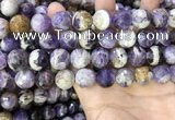 CNA1091 15.5 inches 14mm faceted round dogtooth amethyst beads