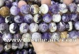 CNA1092 15.5 inches 16mm faceted round dogtooth amethyst beads