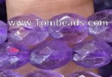 CNA1100 15.5 inches 5*8mm faceted rice amethyst gemstone beads