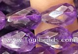 CNA1104 15.5 inches 8*12mm faceted teardrop amethyst gemstone beads