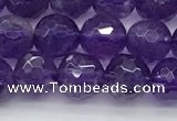 CNA1171 15.5 inches 6mm faceted round natural amethyst beads