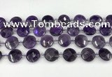 CNA1200 15.5 inches 16mm faceted coin amethyst beads wholesale