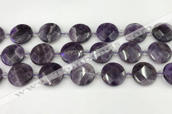 CNA1205 15.5 inches 20mm faceted coin amethyst gemstone beads
