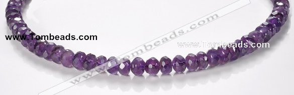 CNA20 5*8mm faceted roundel A- grade natural amethyst beads