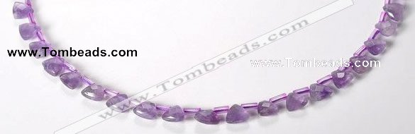 CNA21 8mm faceted triangle A- grade natural amethyst beads