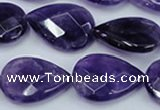 CNA264 15.5 inches 18*25mm faceted flat teardrop natural amethyst beads