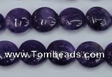 CNA269 15.5 inches 14mm flat round natural amethyst beads wholesale