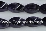 CNA293 15.5 inches 10*20mm twisted rice natural amethyst beads